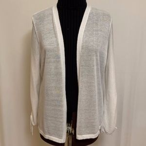 Chico's Ruched Sleeve Cardigan size 2 (L) White